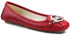MICHAEL KORS FULTON RED SCARLET SAFFIANO MK SILVER LOGO MOCCASINS I LOVE SHOES
