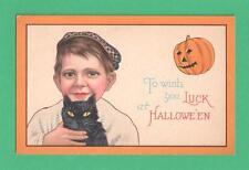VINTAGE NASH HALLOWEEN POSTCARD BOY CAP BLACK CAT YELLOW EYES JOL