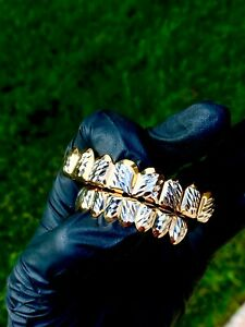 Italy 14k Gold Filled Cluster Diamond Cut Custom Slugs Top Bottom Set GRILLZ