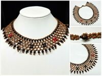 Vintage Ethnic Seed Wood Beaded Collar Bib Choker Necklace Statement Tribal