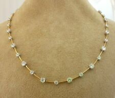 925 Sterling Silver Minimalist White Round Gold Plated CZ Delicate Necklace Gift