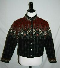 Icelandic Design Sweater Jacket Womens Small Red Black Wool Nordic Lined NEW