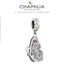 Genuine chamilia 925 de Plata y Rosa mariposa encanto L Mejor Amigo De Swarovski