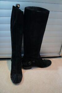 Christian Louboutin Black suede Egoutina Spiked Boots sz 38/UK 5