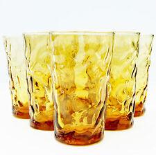 Vintage Retro 1960s Set 6 Amber Honey Gold Aperitif Cordial Glasses Tumblers
