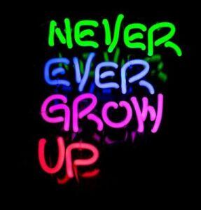 "14""x9""Never Ever Grow UP Neon Sign Light Home Room Wall Hanging Handmade Gift"