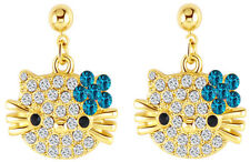 Hello Kitty Cat 18k Yellow Gold Plated Austrian Crystal Stut Blue color Earrings