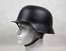 Collectable WWII German M35 Steel Motorcycle Black Helmet Replica