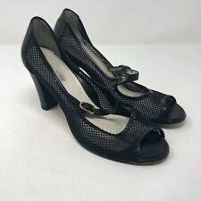 Taryn Rose Size 40 US 10 Black Open Toe Mary Jane Sandals Lasercut Leather Heels