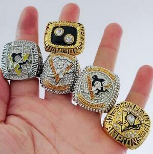 5pcs Pittsburgh Penguins Stanley Cup Hockey Team Ring Fan Men Gift