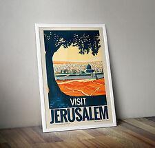Vintage Travel Poster - Visit Jerusalem - A4