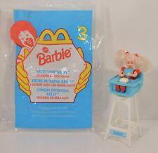 "1998 Highchair Eatin' Fun Kelly 4"" McDonald's Action Figure Barbie Doll #3"