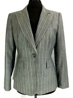 Tahari Arthur Levine Womens Light Grey Pin Stripped Polyester Blazer Jacket Sz.8