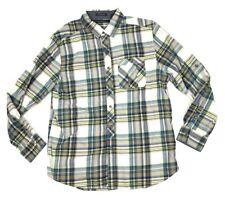 Sean John Shirt Men Size XL Tailored Fit Blue Tan Plaid Button Collar