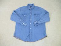 Wrangler Pearl Snap Shirt Adult Extra Large Blue Western Rodeo Cowboy Mens B22