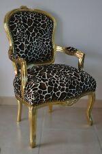 Fauteuil de style Louis XV girafe bois doré