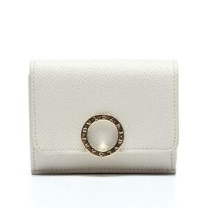 BVLGARI Ivory Grained Leather Folded Compact Wallet Pink Interior NEW BULGARI