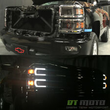 Black 2014-2015 Chevy Silverado 1500 LED DRL [Light Tube] Projector Headlights