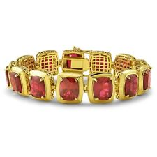 Gold Synthetic Red Ruby Chunky Gold Bracelet For Men