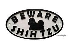 Shih Tzu & Motif Beware Dog Sign - House Garden Plaque  White/Black