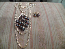 Paris runway vintageTrifari brown apple lucite 3 strands  necklace earrings set