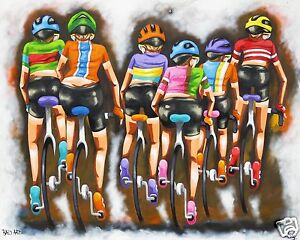 tour de France cycling bike art print canvas  painting Australia abstract