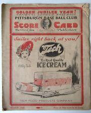 1925 Pittsburgh Pirates Vs New York Giants Baseball Program