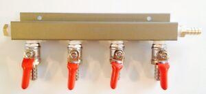 "Beer Tap Draft Co2 Gas Regulator 4 way Spliter Kegerator 5/16"" Barb"