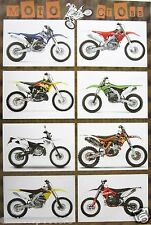 "MOTO CROSS MOTORCYCLES POSTER ""8 RACING DIRT BIKE MODELS"" - MOTORBIKES & CYCLES"