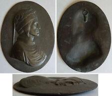 Médaillon Bas relief en métal portrait de DANTE Alighieri 19e siècle medal