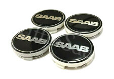4 X Saab Nevs Black Alloy Wheel Centre Hub Caps 62mm 63mm 93 9-3 95 9-5 900 9000