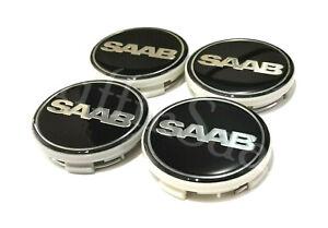 4 X Saab Nevs Black Alloy Wheel Centre Hub Caps 62mm 63mm 93 9-3 95 9-5 900 9000