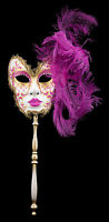 Maschera Di Venezia Per Bastone Piume Struzzo Rosa Fucsia-Carnevale