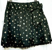 Justice New NWOT Girls Formal Tiered Holiday Skirt Sz 14 Black Silver Polka Dot