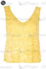 T-shirt, maglie e camicie da donna senza maniche gialli con scollo a v