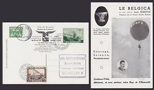 Belgium 1939 Used stamp on Airmail Postcard - Par Ballon BELGICA...........X2559