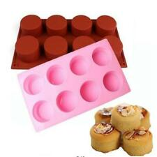8 Grid Round Silicone Mold Soap Cake Bread Cupcake Cheesecake Baking Mould