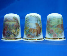 Birchcroft Thimbles -- Set of Three -- Harvest Mice in Meadows