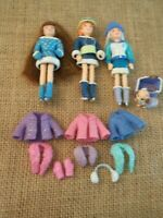 Polly Pocket Dolls Winter Snow Set Clothes Ice Skating Lot Outfits  3-79