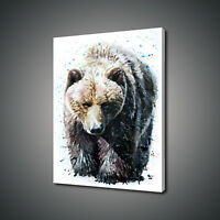 ABSTRACT GRIZZLY BEAR CANVAS PRINT PICTURE WALL ART FREE UK DELIVERY