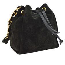 CHANEL CC Drawstring Chain Shoulder Bag Purse Black Suede GHW Auth NR14049f