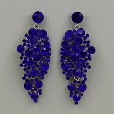 New Rhodium Plated Blue Crystal Rhinestone Drop Chandelier Dangle Earrings 04989