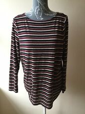 George Womens T-shirt Top Size 20 Burgundy Navy Blue Mix Striped Long Sleeved