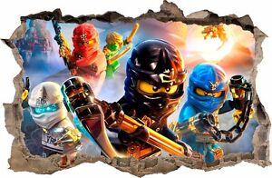 WANDAUFKLEBER Loch in der Wand 3D LEGO NINJAGO Wand Aufkleber Wandtattoo 80