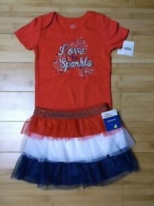 new GIRL 24 months 2T Patriotic Independence Day OUTFIT bodysuit & tutu skirt