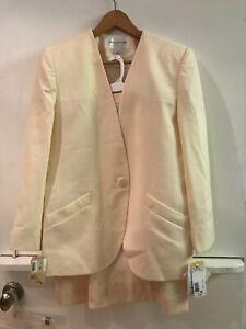 Jones New York Petite Womens Cream Off White Wool Skirt Suit 12P NWT