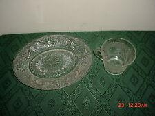 "2-PC TIARA CLEAR ""SANDWICH GLASS"" COFFEE CUP & SNACK PLATE/ORIGINAL/FREE SHIP!"