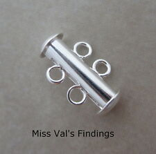 8 silver plated slide lock tube multi strand clasps 2 strand