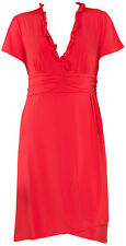 NEW PLUS Silhouettes Knee-Length Cocktail Ruffle-Bodice Dress Red 1X