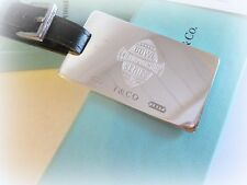 ROSE TIFFANY & CO RETIRED STERLING SILVER LUGGAGE TAG LEATHER BELT ROSE BOWL
